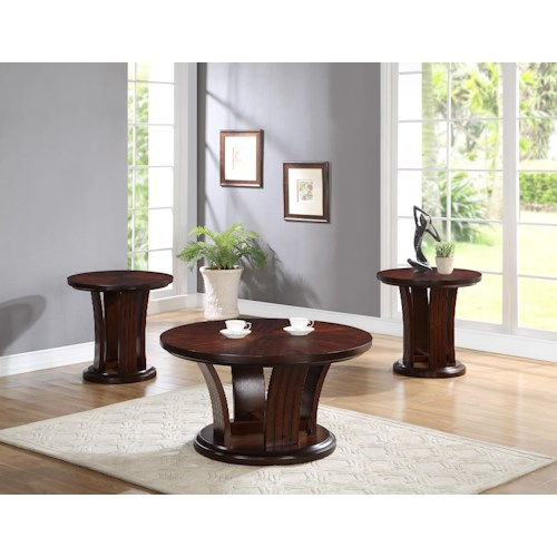 Crown Mark Daria 3 Piece Cocktail Group in Rich Brown Finish