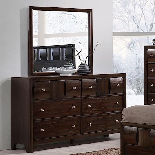 Crown Mark Delrey Contemporary Dresser and Mirror Set