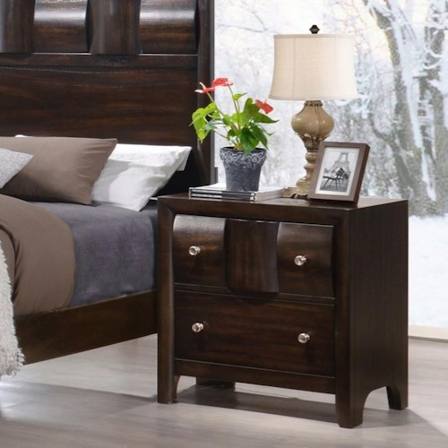 Crown Mark Delrey Contemporary Nightstand with Raised Drawer Front
