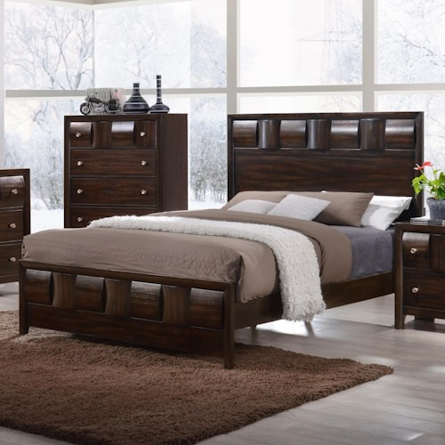 Crown Mark Delrey King Contemporary Low Profile Bed
