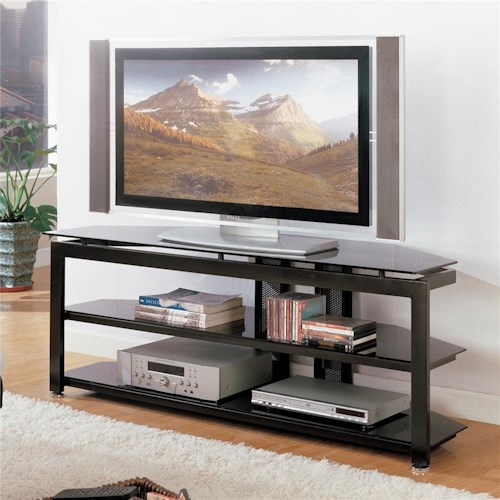 Crown Mark Delta TV Stand with Glass Top