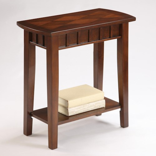 Crown Mark Dentil Rectangular Chairside Table with Decorative Top