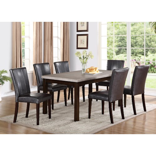 Crown Mark Dominic 7 Piece Rectangular Dining Table and Fully Upholstered Side Chair Set
