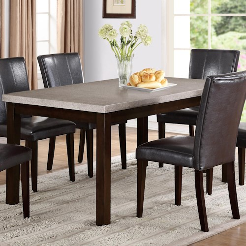 Crown Mark Dominic Dining Table with Straight Block Legs