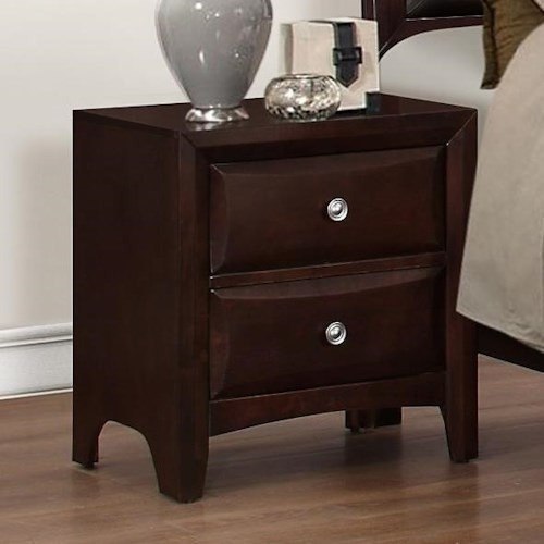 Crown Mark Donovan Nightstand with Modern Espresso Finish
