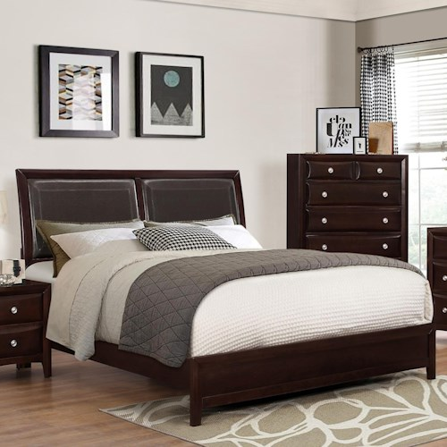 Crown Mark Donovan Queen Low-Profile Bed with Rich Espresso Finish