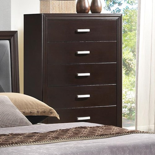 Crown Mark Elijah Transitional Chest of Drawers with Crown Molding and Simple Metal Hardware