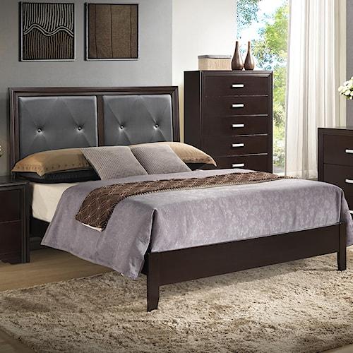 Crown Mark Elijah King Upholstered Low Profile Bed