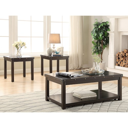 Crown Mark Elton 3-Piece Cocktail Set with Casters