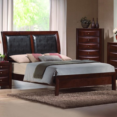 Crown Mark Emily California King Platform Bed with Upholstered Sleigh Headboard