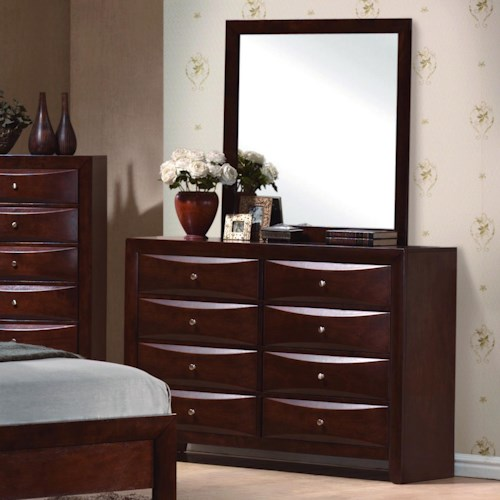 Crown Mark Emily Contemporary 8 Drawer Dresser with Mirror