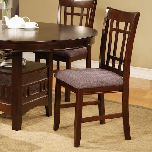 Crown Mark Empire Dining Side Chair with Upholstered Seat