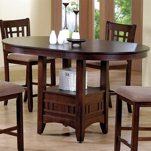 Crown Mark Empire  Counter Height Dining Table with Pedestal Base