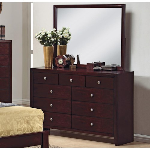 Crown Mark Evan 9 Drawer Dresser and Mirror Combination