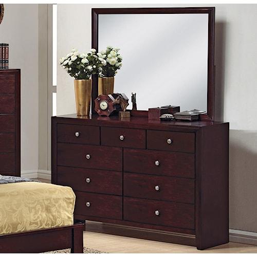 CM Evan 9 Drawer Dresser and Mirror Combination