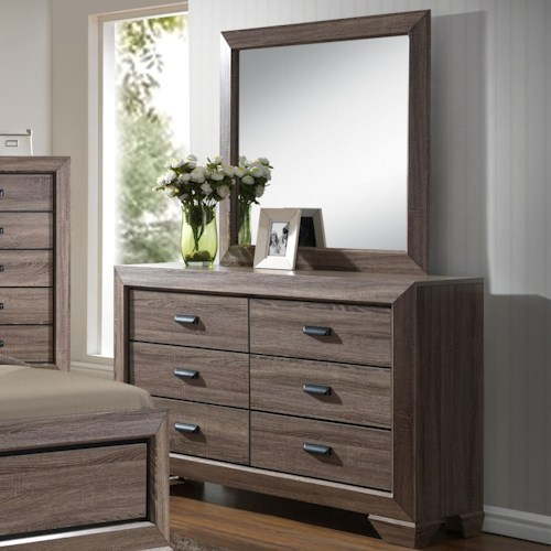 Crown Mark Farrow Grey Dresser and Mirror Set