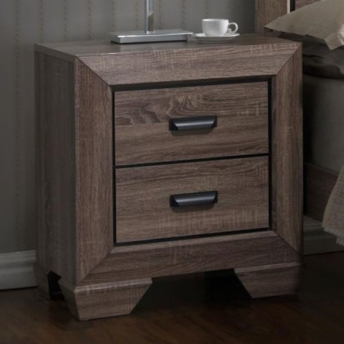 Crown Mark Farrow Grey Nightstand with Large Frame