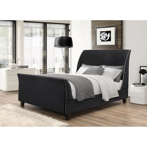 Crown Mark Felicity King Upholstered Bed with Nailhead Trim