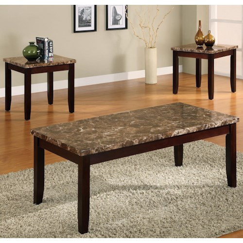 Crown Mark Ferrara 3 Pack Cocktail Table and End Tables Set