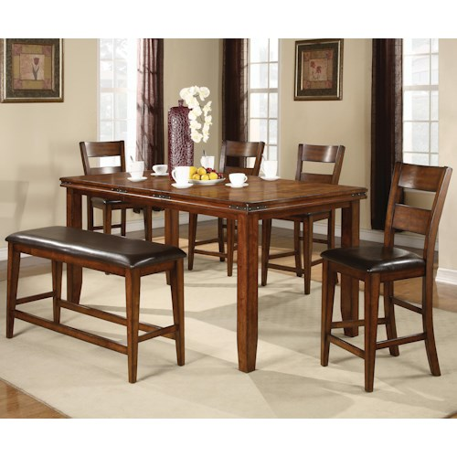 Crown Mark Figaro 6 Piece Counter Height Table and Chairs Set with Bench