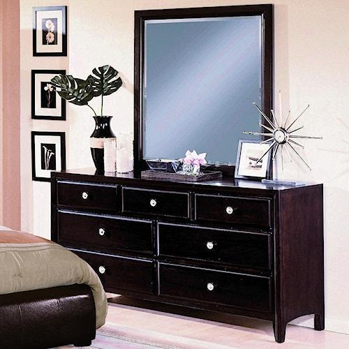 Crown Mark Flynn 7 Drawer Dresser with Mirror Combination