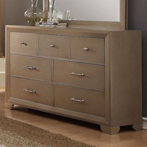 Crown Mark Fontaine Seven Drawer Dresser with Metallic Finish