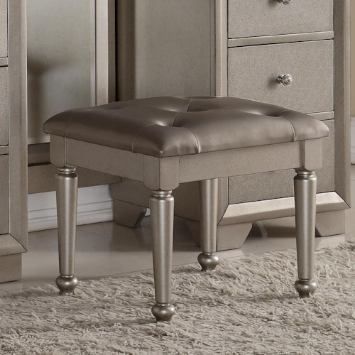 Crown Mark Fontaine Glamorous Vanity Stool
