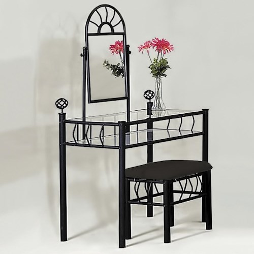 Crown Mark Foundry Vanity Set with Stool