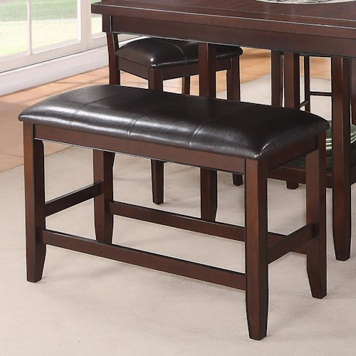 Crown Mark Fulton Counter Height Bench with Faux Leather Upholstered Seat