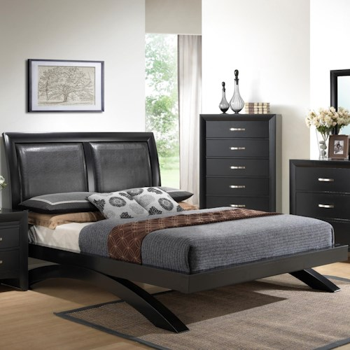 Crown Mark Galinda  Queen Contemporary Upholstered Headboard Bed