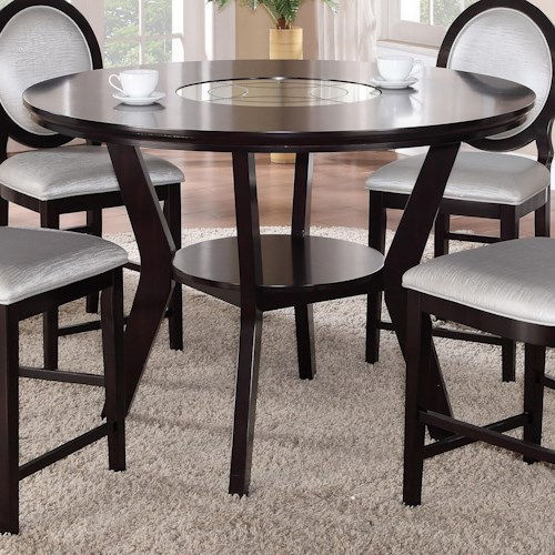 Crown Mark Gianna Round Counter Height Table with Glass Insert