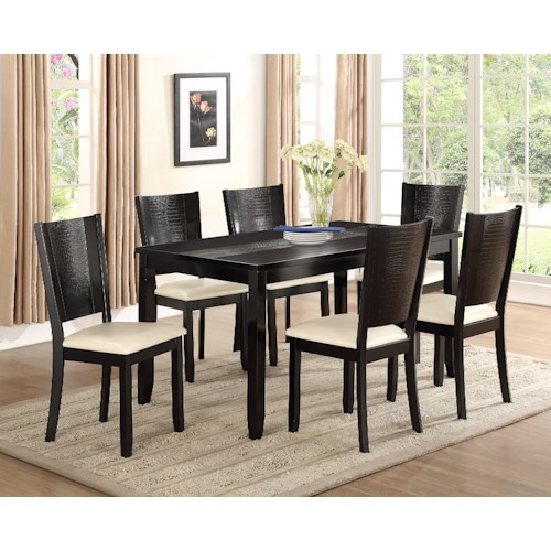 Crown Mark Hanson 7 Piece Rectangular Dining Table and Upholstered Seat Chair Set