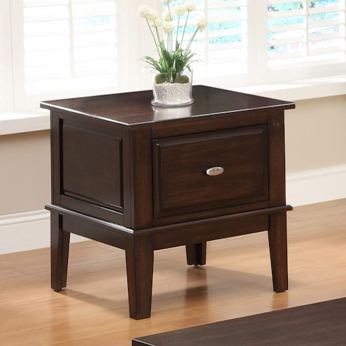 Crown Mark Harmon Square End Table with One Drawer