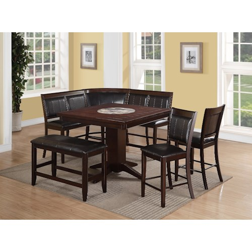 Crown Mark Harrison 7 Piece Counter Height Dining Set with Upholstered Bench and High Back Benches