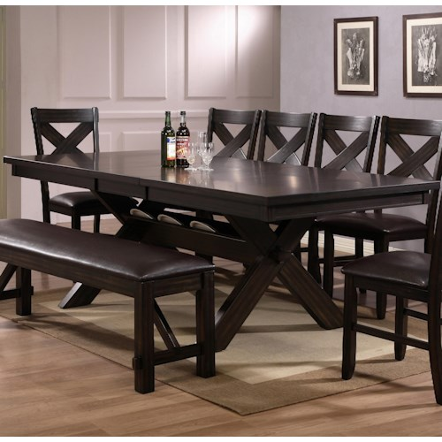 Crown Mark Havana Rectangular Dining Table with Storage