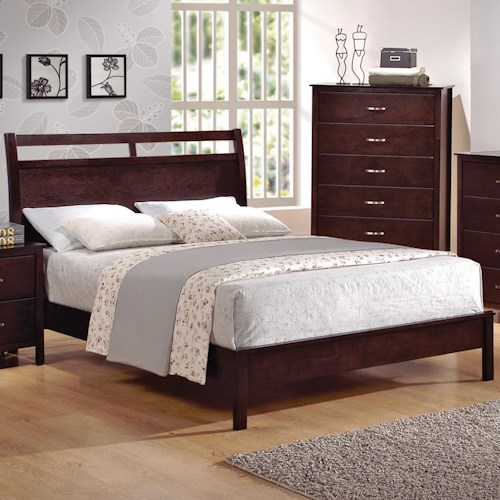 Crown Mark Ian Full Low-Profile Bed with Cutout Headboard