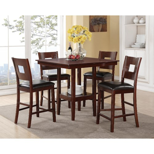 Crown Mark Isaac 5 Piece Counter Height Dinette with Single Pedestal Table and Upholstered Chairs
