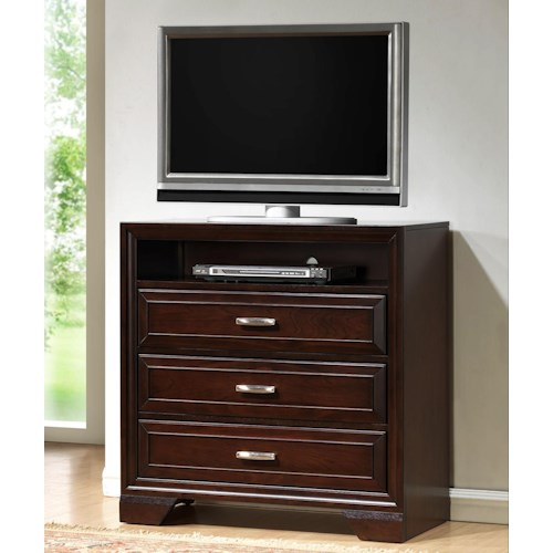 Crown Mark Jacob 3 Drawer Media Chest
