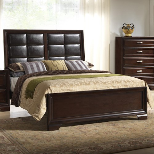 Crown Mark Jacob Queen Bed with Upholstered Headboard