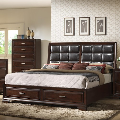 Crown Mark Jacob King Upholstered Bed with Storage Footboard