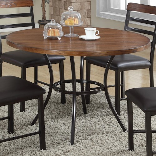 Crown Mark James Round Dining Table with Single Pedestal Base