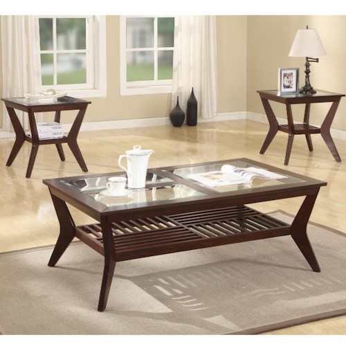 Crown Mark Jayden 3 Pack Table with One Cocktail Table and 2 End tables