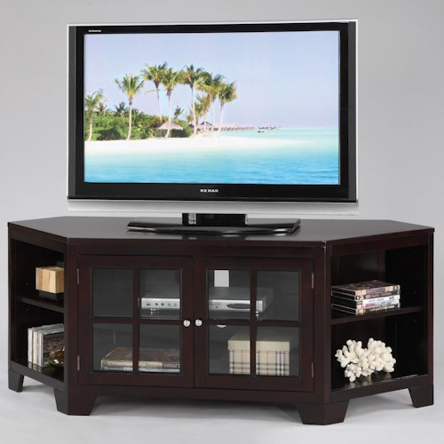 Crown Mark Jeremy 2 Paneled Glass Door Entertainment Console with 6 Shelves