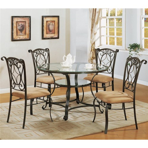 Crown Mark Jessica Dinette Table with Glass Top and Side Chairs with Upholstered Seating