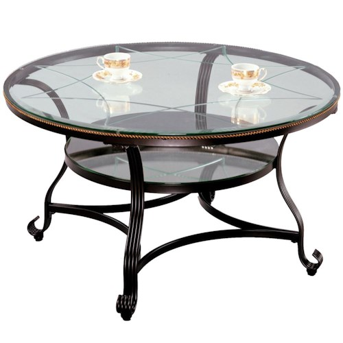 Crown Mark Jessica Cocktail Table with Glass Top and Glass Shelf
