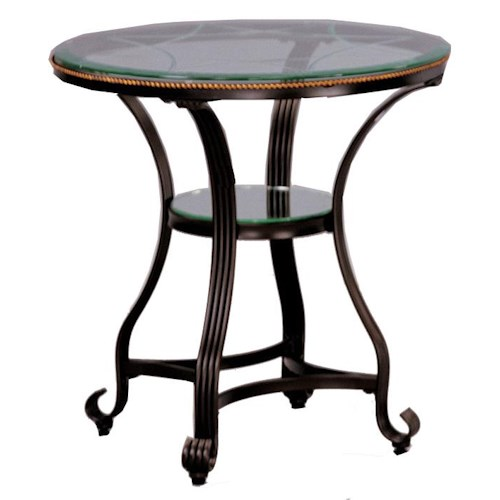 Crown Mark Jessica End Table with Glass Top and Glass Shelves