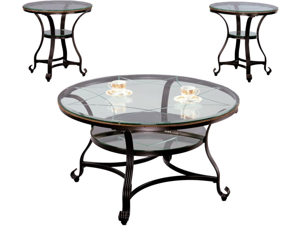Two End Tables Shown with One Cocktail Table