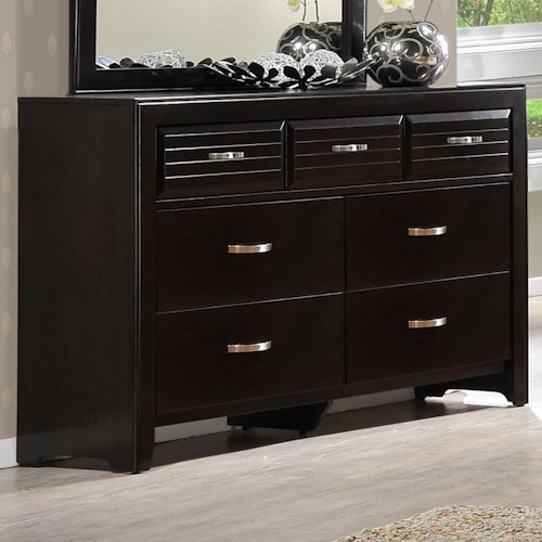 Crown Mark Jocelyn Rectangular Dresser with 7 Drawers