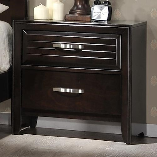 Crown Mark Jocelyn 2 Drawer Nightstand
