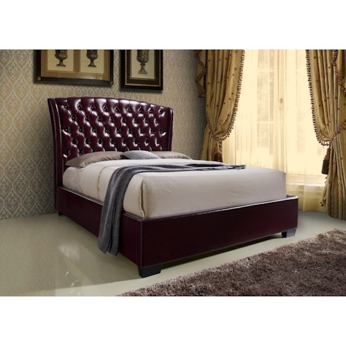 Crown Mark Kaitlyn Wine Upholstered Queen Headboard and Footboard Bed